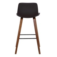 Maddie Contemporary Barstool in Walnut Wood Finish and Brown Faux Leather