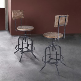 Magnus Industrial Adjustable Barstool in Industrial Grey and Pine Wood