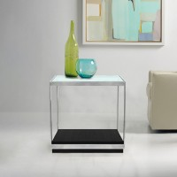 Armen Living Manchester Contemporary End Table with Polished Stainless Steel and Glass Top