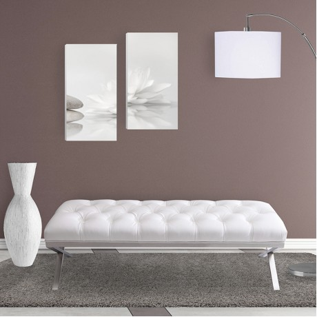 Armen Living Milo Bench in Brushed Stainless Steel finish with White PU