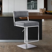 Michele Contemporary Swivel Barstool in Brushed Stainless Steel and Grey Faux Leather