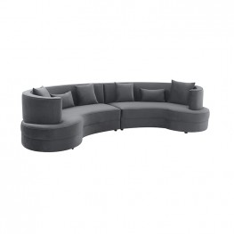Majestic Gray Fabric Upholstered Sectional Sofa