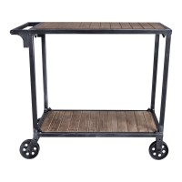 Moka Industrial Cart in Industrial Grey and Pine Wood
