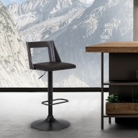 Milan Adjustable Swivel Black Faux Leather and Black Wood Bar Stool with Black Base