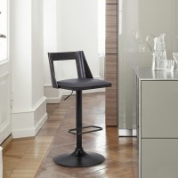 Milan Adjustable Swivel Grey Faux Leather and Black Wood Bar Stool with Black Base