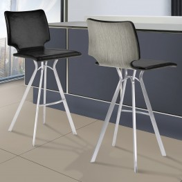 "Marley 26"" Counter Height Barstool in Brushed Stainless Steel with Vintage Black Faux Leather and Grey Walnut Wood Back"
