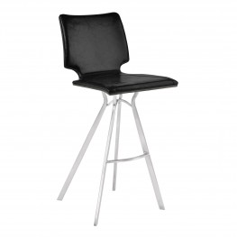 "Marley 30"" Bar Height Barstool in Brushed Stainless Steel with Vintage Black Faux Leather and Grey Walnut Wood Back"