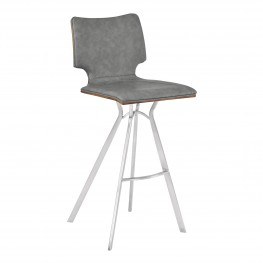 "Armen Living Marley 26"" Counter Height Barstool in Brushed Stainless Steel with Vintage Grey Faux Leather and Walnut Wood Back"