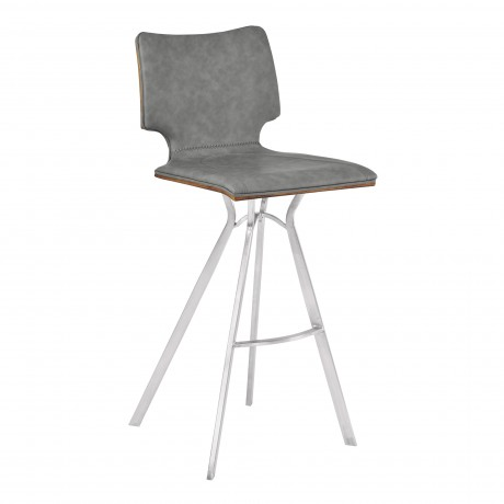 "Marley 30"" Bar Height Barstool in Brushed Stainless Steel with Vintage Grey Faux Leather and Walnut Wood Back"