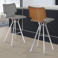 """Armen Living Marley 30"""" Bar Height Barstool in Brushed Stainless Steel with Vintage Grey Faux Leather and Walnut Wood Back"""