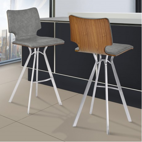 "Armen Living Marley 30"" Bar Height Barstool in Brushed Stainless Steel with Vintage Grey Faux Leather and Walnut Wood Back"