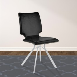 Marley Contemporary Dining Chair in Brushed Stainless Steel with Vintage Black Faux Leather and Grey Walnut Wood Back - Set of 2