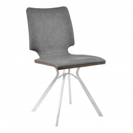Marley Contemporary Dining Chair in Brushed Stainless Steel with Vintage Grey Faux Leather and Walnut Wood Back - Set of 2