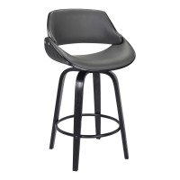 "Mona Contemporary 26"" Counter Height Swivel Barstool in Black Brush Wood Finish and Grey Faux Leather"