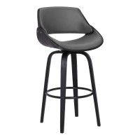 "Mona Contemporary 30"" Bar Height Swivel Barstool in Black Brush Wood Finish and Grey Faux Leather"