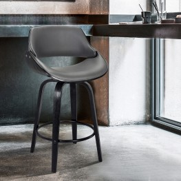 """Mona Contemporary 30""""Bar HeightSwivel Barstool in Black Brush Wood Finish and Grey Faux Leather"""