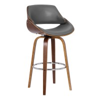 "Mona Contemporary 26"" Counter Height Swivel Barstool in Walnut Wood Finish and Grey Faux Leather"