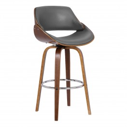 "Mona Contemporary 30"" Bar Height Swivel Barstool in Walnut Wood Finish and Grey Faux Leather"