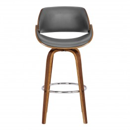 """Mona Contemporary 30""""Bar HeightSwivel Barstool in Walnut Wood Finish and Grey Faux Leather"""