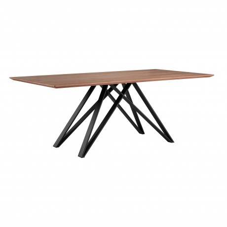 Modena Contemporary Dining Table in Matte Black Finish and Walnut Wood Top