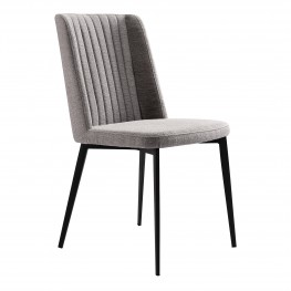 Maine Contemporary Dining Chair in Matte Black Finish and Gray Fabric - Set of 2