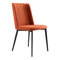 Maine Contemporary Dining Chair in Matte Black Finish and Orange Fabric - Set of 2