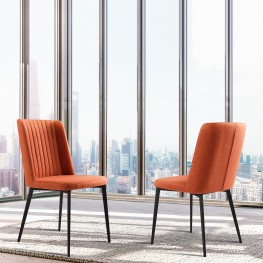 Maine Contemporary Dining Chair in Matte Black Finish andOrange Fabric - Set of 2
