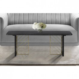 Monaco Black Wood Coffee Table with Antique Brass Accent