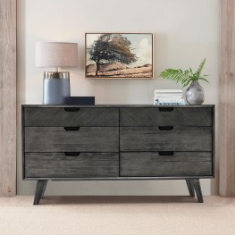 Mohave Mid-Century Tundra Grey Acacia 6 Drawer Dresser