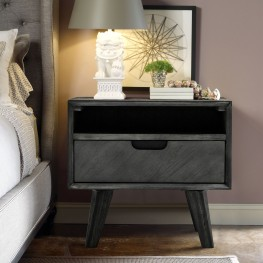 Mohave Mid-Century Tundra Grey Acacia Single Drawer Night Stand