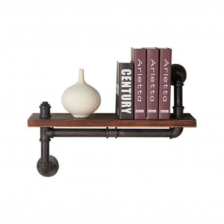 "24"" Montana Industrial Pine Wood Floating Wall Shelf in Gray and Walnut Finish"