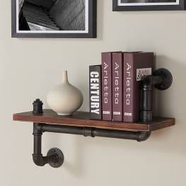 """Armen Living 24"""" Montana Industrial Pine Wood Floating Wall Shelf in Gray and Walnut Finish"""
