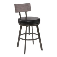Montreal Mid-Century Adjustable Barstool in Mineral Finish with Black Faux Leather and Grey Walnut Wood Finish Back