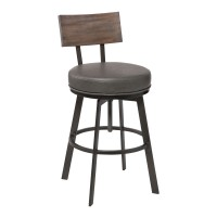 Montreal Mid-Century Adjustable Barstool in Mineral Finish withGrey Faux Leather and Oak Wood Finish Back