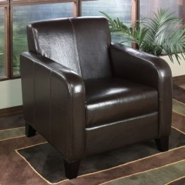 Armen Living 1400 Brown Faux Leather Club Chair