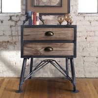 Mathis Industrial 2-Drawer End Table in Industrial Grey and Pine Wood