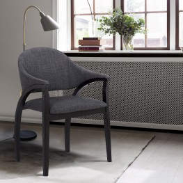 Meadow Contemporary Dining Chair in Black Brush Wood Finishand Charcoal Fabric - Set of 2