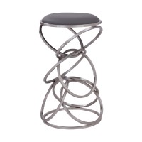 """Medley Contemporary 26"""" Counter Height Barstool in Brushed Stainless Steel Finish and Grey Faux Leather"""