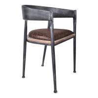 Macey Modern Dining Chair in Industrial Grey Finish and Brown Fabric with Pine Wood - Set of 2