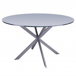 Mystere Modern Dining Table in Grey Powder Coated finish with Grey Tempered Glass Top