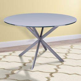 Armen Living Mystere Modern Dining Table in Grey Powder Coated finish with Grey Tempered Glass Top