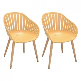 Nassau Outdoor Arm Dining Chairs in Honey Yellow Finish with Wood legs- Set of 2