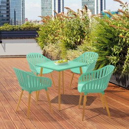 Nassau Square Outdoor Mint Green Eucalyptus Dining Table