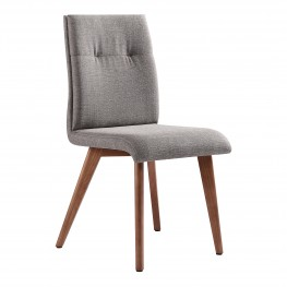 NobleMid-Century Dining Chair in Walnut Finish and Gray Fabric - Set of 2