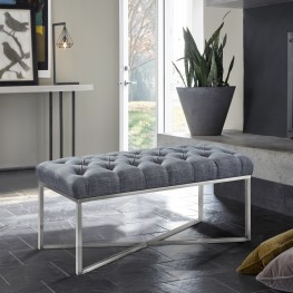 Noel Contemporary Bench in Slate Grey Linen and Brushed Stainless Steel Finish