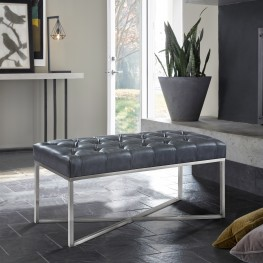 Noel Contemporary Bench in Grey Faux Leather and Brushed Stainless Steel Finish