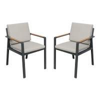 Armen Living NofiOutdoor PatioDining Chair in Charcoal Finish with Taupe Cushions andTeak Wood Accent Arms - Set of 2