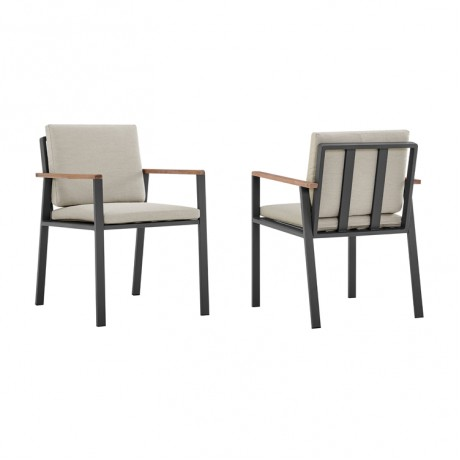 Nofi Outdoor Patio Dining Chair in Charcoal Finish with Taupe Cushions and Teak Wood Accent Arms  - Set of 2