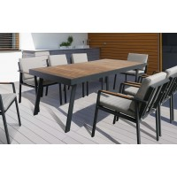 Armen Living NofiOutdoor PatioDining Table in Charcoal Finish with Teak Wood Top