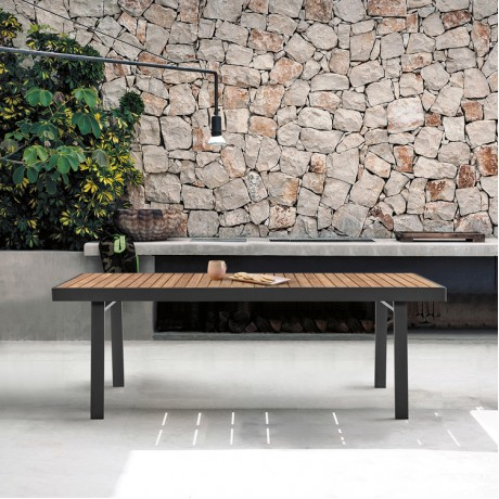Nofi Outdoor Patio Dining Table in Charcoal Finish with Teak Wood Top